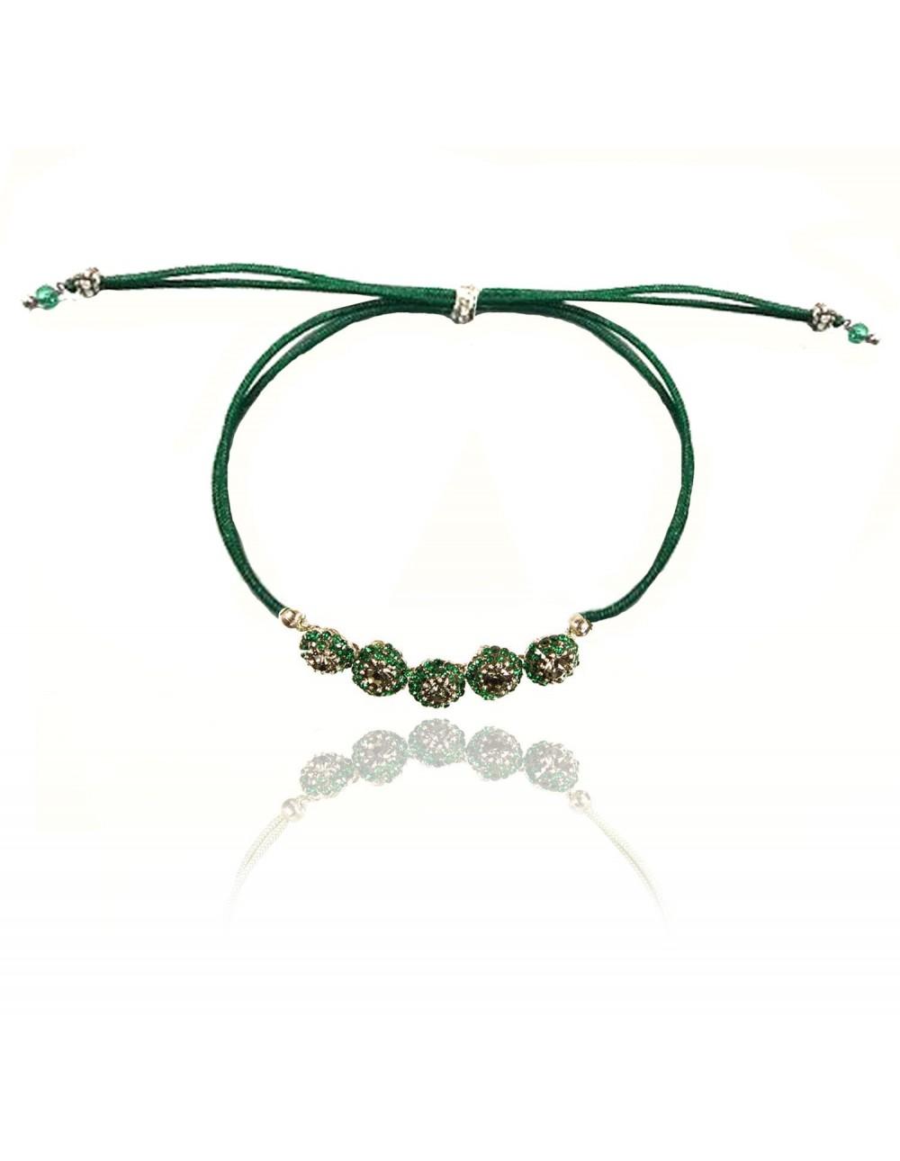Bracelet cordon Lyris émeraude