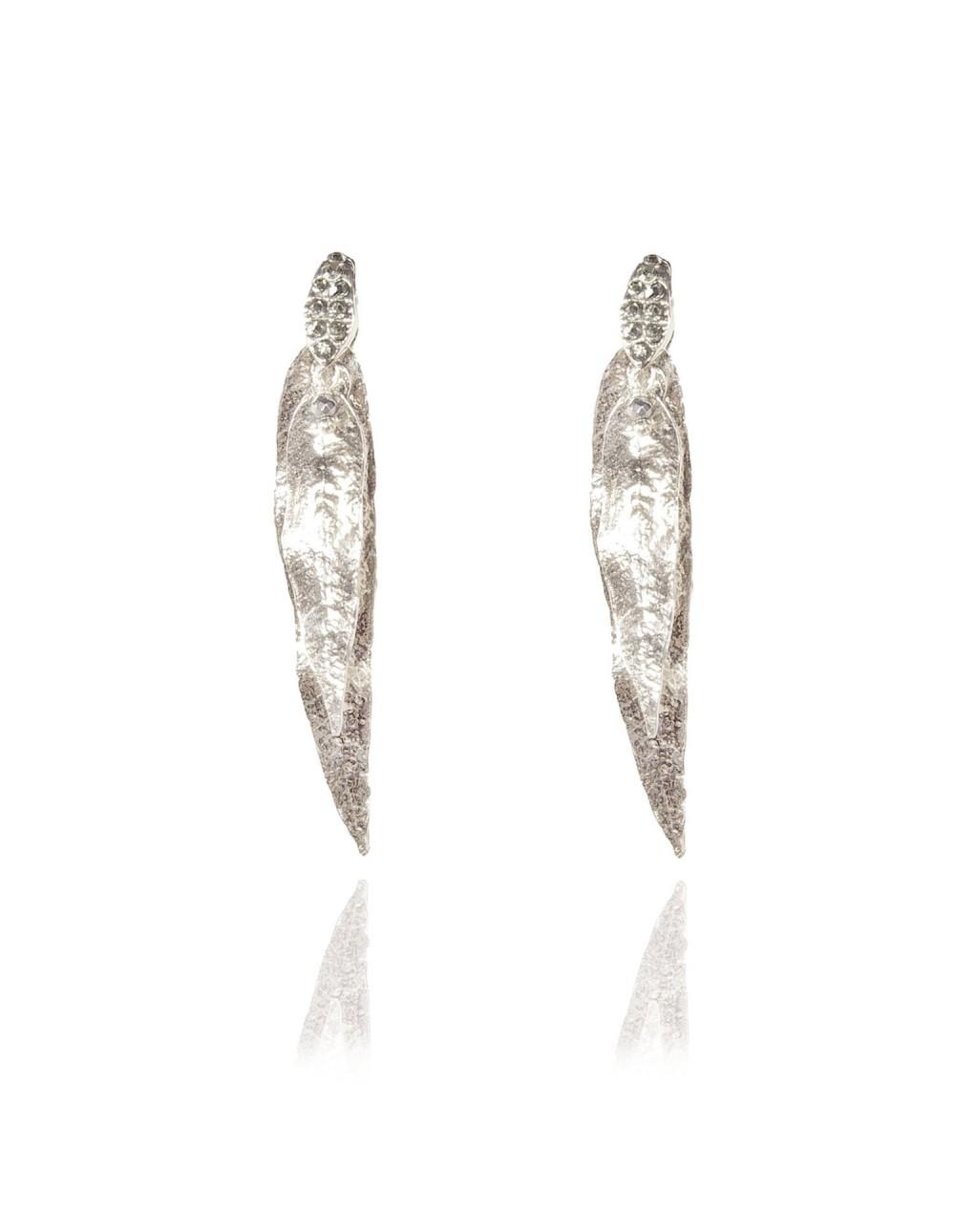 Boucles d'oreilles duo Eucalyptus argenté