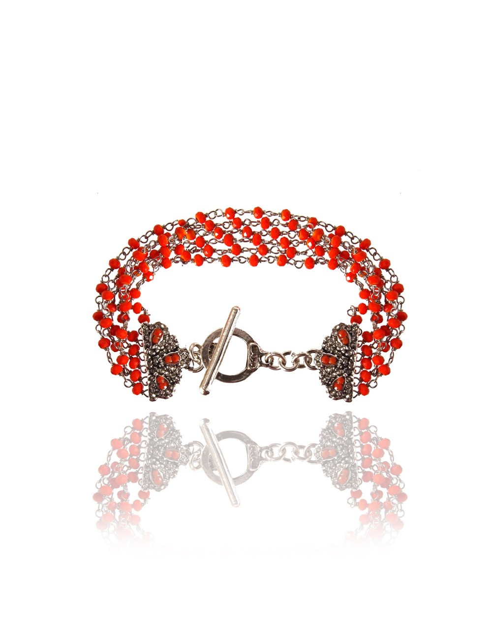 Bracelet manchette Delya corail